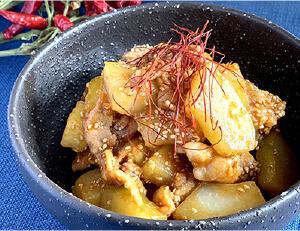 青パパイヤと豚肉のコチュジャン煮